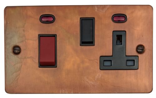 G&H FTC29B Flat Plate Tarnished Copper 45 Amp DP Cooker Switch & 13A Switched Socket